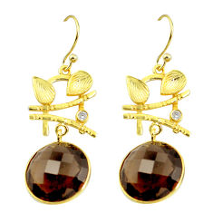 17.08cts brown smoky topaz topaz 925 silver 14k gold leaf earrings p24045