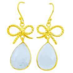 16.09cts natural rainbow moonstone 925 silver 14k gold dangle earrings p24392