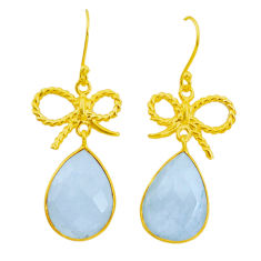 17.76cts natural rainbow moonstone 925 silver 14k gold dangle earrings p24393