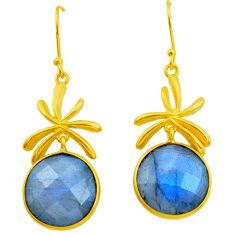 925 silver 20.85cts natural blue labradorite 14k gold dangle earrings p24413