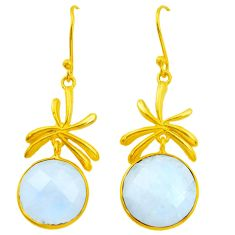 20.20cts natural rainbow moonstone 925 silver 14k gold dangle earrings p24416