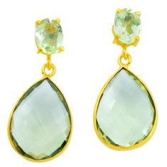 18.59cts natural lemon topaz 925 sterling silver 14k gold dangle earrings p24432
