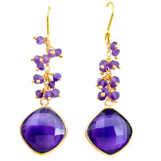 21.79cts natural purple amethyst 925 sterling silver 14k gold earrings p24465