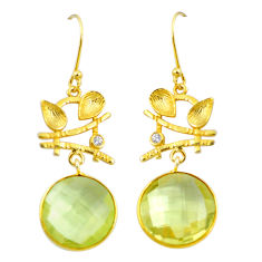 18.15cts natural lemon topaz topaz 925 sterling silver 14k gold earrings p24469