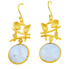 925 silver 19.81cts natural rainbow moonstone topaz 14k gold earrings p24475