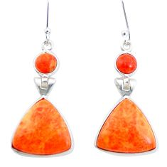 925 sterling silver 14.56cts red copper turquoise dangle earrings jewelry p24551