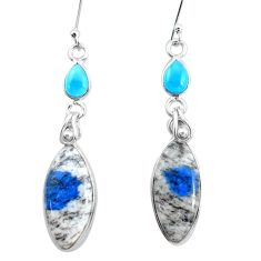 14.56cts natural k2 blue (azurite in quartz) chalcedony silver earrings p24585