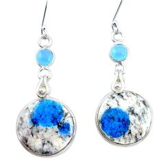 18.15cts natural k2 blue (azurite in quartz) chalcedony silver earrings p24588