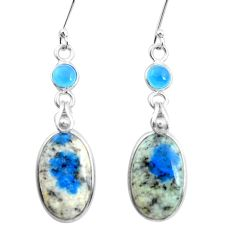 925 silver natural k2 blue (azurite in quartz) chalcedony earrings p24594