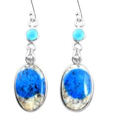 17.08cts natural k2 blue (azurite in quartz) chalcedony silver earrings p24596