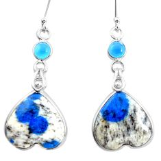 Natural k2 blue (azurite in quartz) chalcedony silver heart earrings p24600
