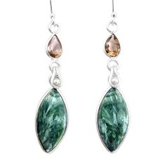 15.25cts natural green seraphinite (russian) 925 silver dangle earrings p24627