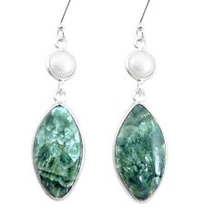 17.08cts natural green seraphinite (russian) 925 silver dangle earrings p24628