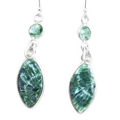 15.89cts natural green seraphinite (russian) 925 silver dangle earrings p24629