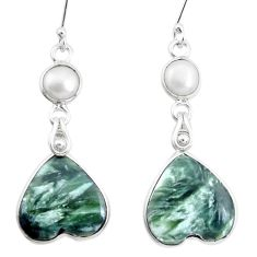 925 silver 19.40cts natural green seraphinite (russian) heart earrings p24630