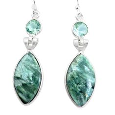 14.18cts natural green seraphinite (russian) 925 silver dangle earrings p24631