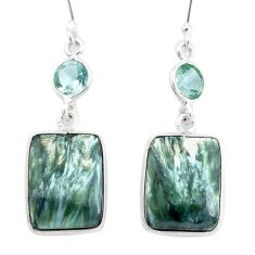15.89cts natural green seraphinite (russian) 925 silver dangle earrings p24632