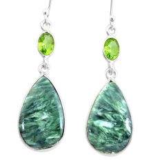 16.50cts natural green seraphinite (russian) 925 silver dangle earrings p24634