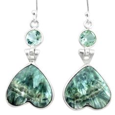 16.50cts natural green seraphinite (russian) 925 silver heart earrings p24635