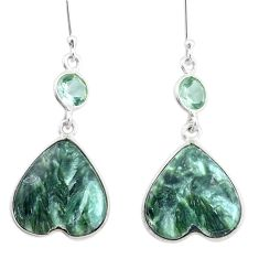 17.08cts natural green seraphinite (russian) 925 silver heart earrings p24636