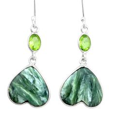 15.89cts natural green seraphinite (russian) 925 silver dangle earrings p24637