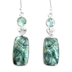 925 silver 15.25cts natural green seraphinite (russian) dangle earrings p24638