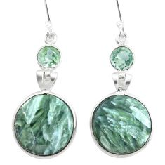 15.89cts natural green seraphinite (russian) 925 silver dangle earrings p24639
