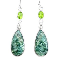 17.46cts natural green seraphinite (russian) 925 silver dangle earrings p24640
