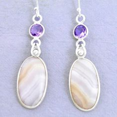 18.79cts natural pink lace agate amethyst 925 silver dangle earrings p24687