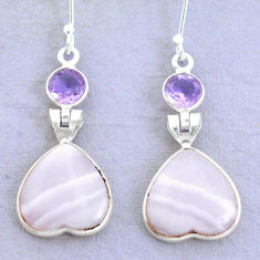 17.46cts natural pink lace agate amethyst 925 silver heart love earrings p24690