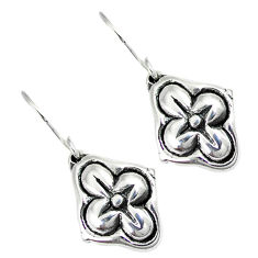 Indonesian bali style solid 925 sterling silver dangle flower earrings p2511