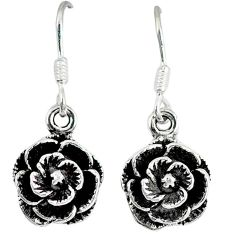Indonesian bali style solid 925 sterling silver flower earrings jewelry p2517