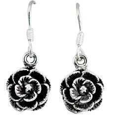 Indonesian bali style solid 925 sterling silver flower earrings jewelry p2518