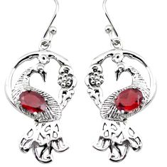 3.16cts natural red garnet 925 sterling silver dangle peacock earrings p25362