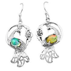 3.14cts natural multi color ethiopian opal 925 silver peacock earrings p25386