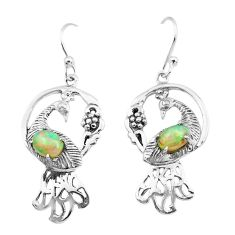 925 silver 3.14cts natural multi color ethiopian opal peacock earrings p25389