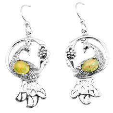 3.28cts natural multi color ethiopian opal 925 silver peacock earrings p25390