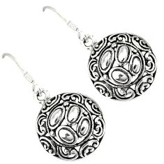 Indonesian bali style solid 925 silver dangle designer round earrings p2552