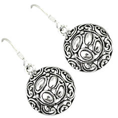 925 silver indonesian bali style solid dangle designer round earrings p2553