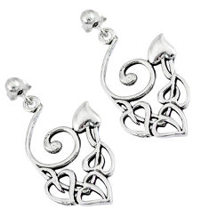 Indonesian bali style solid 925 silver dangle heart charm earrings jewelry p2556