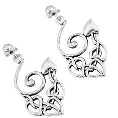 Indonesian bali style solid 925 sterling silver dangle heart earrings p2559