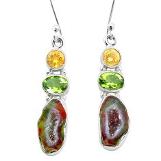 12.83cts natural brown geode druzy peridot 925 silver dangle earrings p25642