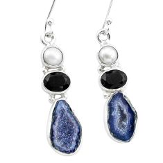 925 silver 12.34cts natural brown geode druzy onyx pearl dangle earrings p25643