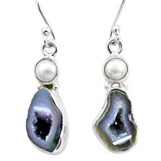 9.98cts natural brown geode druzy white pearl 925 silver dangle earrings p25644
