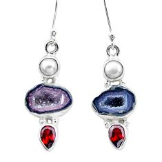 11.66cts natural brown geode druzy garnet 925 silver dangle earrings p25646