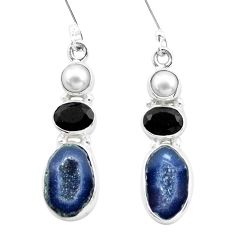 12.83cts natural brown geode druzy onyx pearl 925 silver dangle earrings p25648