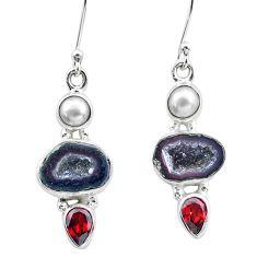 925 silver 11.66cts natural brown geode druzy garnet pearl earrings p25651