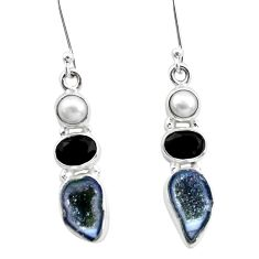 11.23cts natural brown geode druzy onyx pearl 925 silver dangle earrings p25653