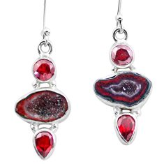 11.66cts natural brown geode druzy garnet 925 silver dangle earrings p25657