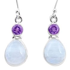 11.65cts natural rainbow moonstone amethyst 925 silver dangle earrings p25678